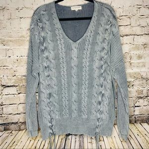 By Together Lace Up Cable Knit Sweater sz S/M
